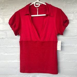 Free People molly cherry red short sleeve top M